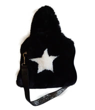 Black Faux Fur Bag with Studded Strap - CHANCEUSES