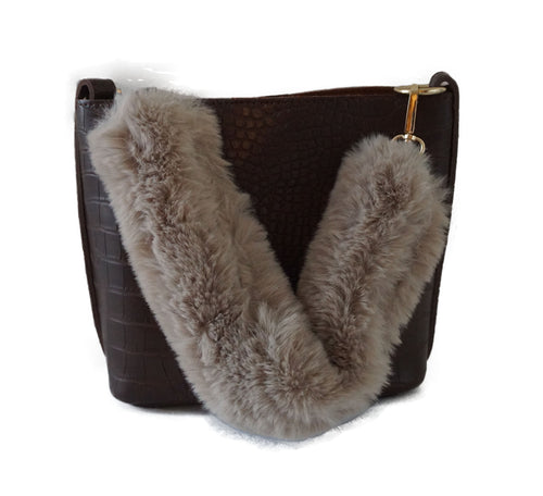 Brown Tote with faux fur handle