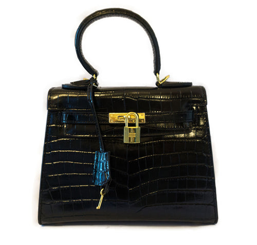 Leather Crocodile Embossed Bag - CHANCEUSES
