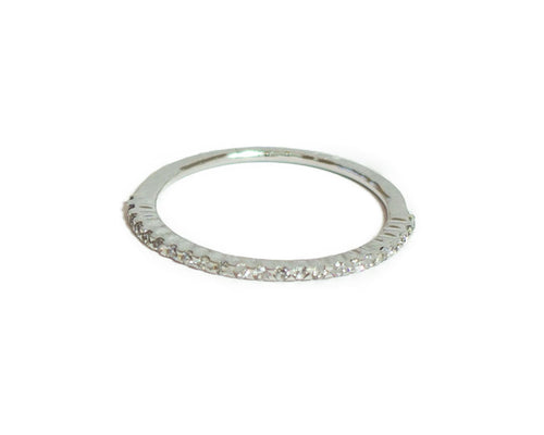 Solid 18k White Gold Ring with Diamonds