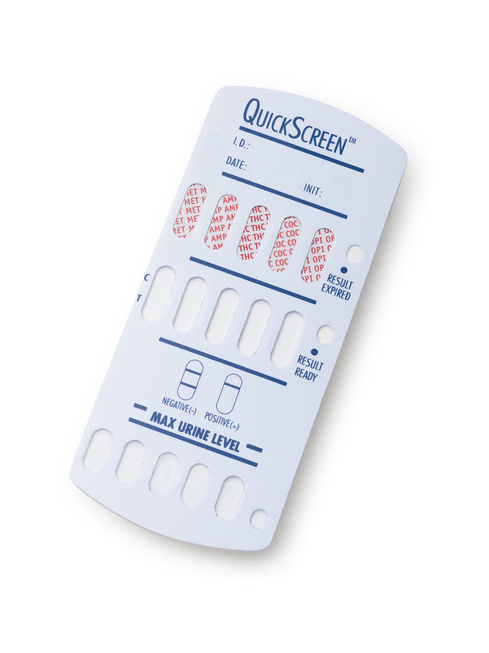 5 Panel QuickScreen Dipcard - 9147T - AMP, COC, MET-500, OPI-300, THC + Timer-Countrywide Testing