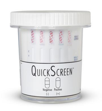 (25 Pack) 5 Panel QuickScreen Cup - 9147Z - AMP, COC, MET-500, OPI-300, THC + Timer - Made in USA Drug Cups,5 Panel Phamatech