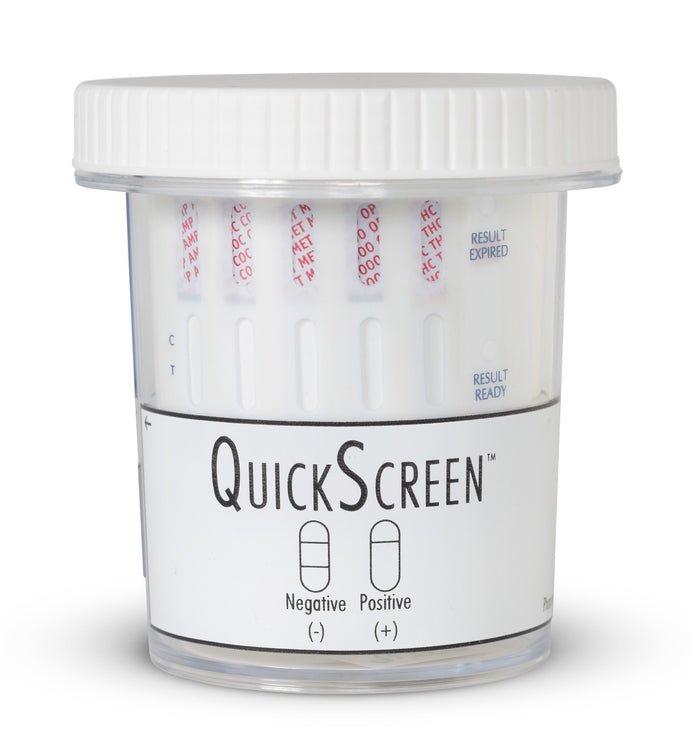 (25 Pack) 5 Panel QuickScreen Cup - 9178Z - Made in USA - AMP, COC, MET-500, OPI-2000, THC + Timer-Countrywide Testing