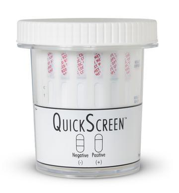 (25 Pack) 6 Panel QuickScreen Cup - 9239Z - AMP, BZD, COC-300, MET-500, OPI-300, THC + Timer-Countrywide Testing