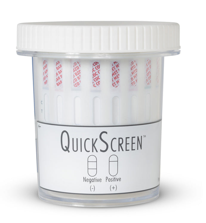 (25 Pack) 10 Panel QuickScreen Cup - 9298Z - AMP, BAR, BZD, COC, MET-500, MTD, OPI-300, OXY, PCP, THC + Timer 10 Panel,Drug Cups Phamatech