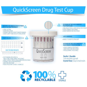 (25 Pack) 6 Panel QuickScreen Cup - 9420Z - Made in USA - AMP, BUP, COC, OPI-300, PCP, THC + Timer