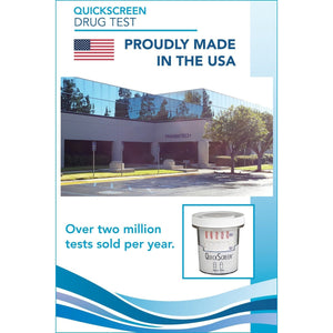 (25 Pack) 6 Panel QuickScreen Cup - 9420Z - Made in USA - AMP, BUP, COC, OPI-300, PCP, THC + Timer - Countrywide Testing