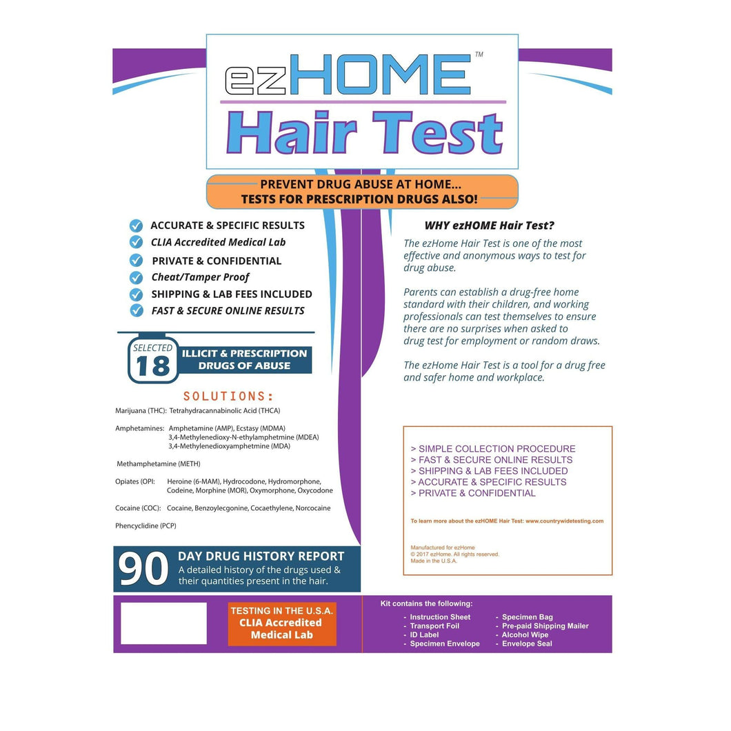 ezHOME Hair Test - 1005-9950 Lab Tests,Hair Drug Test,Home Drug Test,EZ Home Drug Test Phamatech