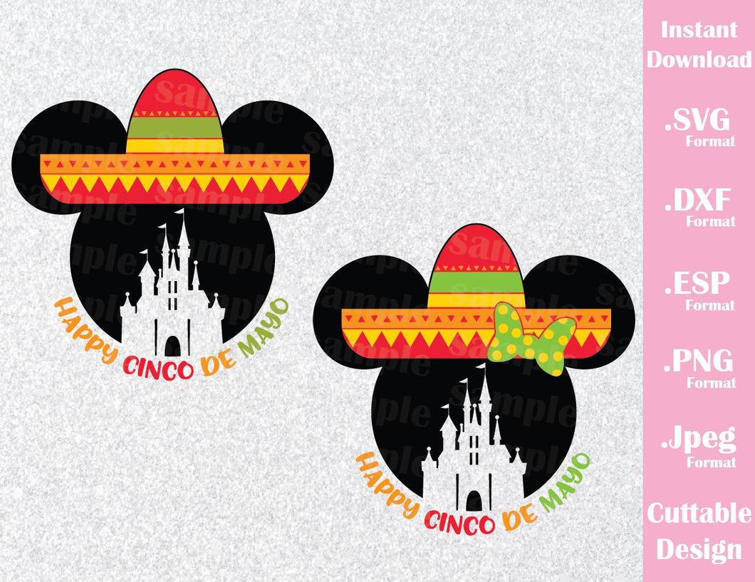 Mickey and Minnie Ears Castle, Happy 5 de Mayo Quote Inspired Cutting File in SVG, ESP, DXF, PNG and JPEG Formats