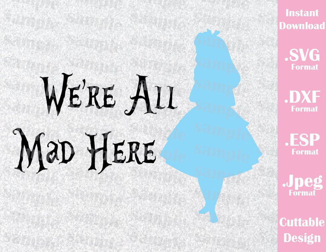 Alice in Wonderland Inspired Cutting File in SVG, ESP, DXF and JPEG Format