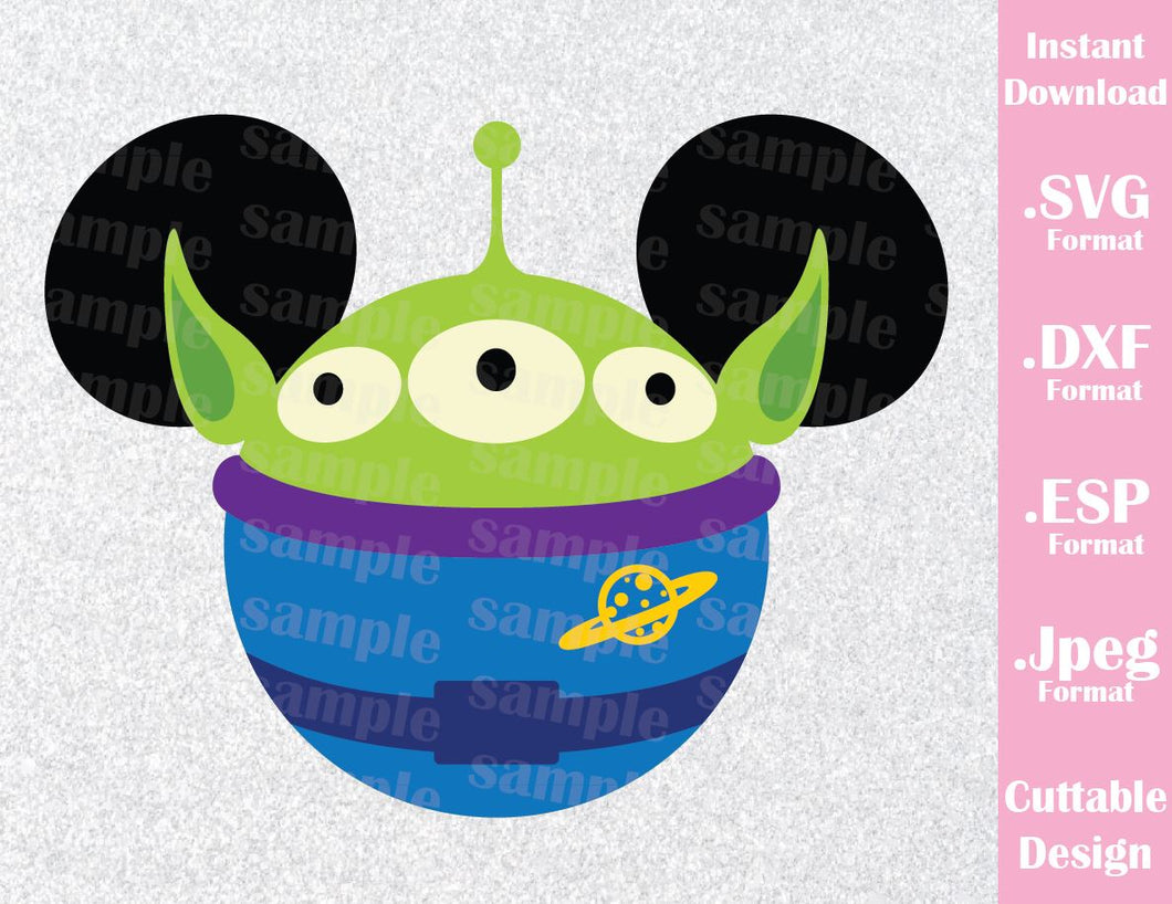 Alien from Toy Story Mickey Ears Inspired Family Vacation Cutting File in SVG, ESP, DXF, PNG and JPEG Format