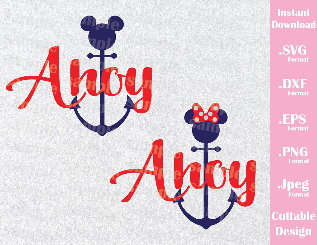 Cruise Anchor Ahoy Mickey and Minnie Ears Inspired Cutting Files in SVG, ESP, DXF, PNG and JPEG Format