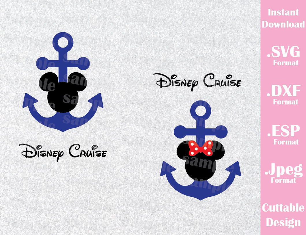 Anchor Mickey and Minnie Mouse Disney Cruise Logo Inspired Mouse Ears Family Vacation Cutting File in SVG, ESP, DXF and JPEG Format