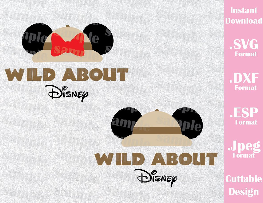 Animal Kingdom Mickey and Minnie Ears Safari Hat Inspired Cutting File in SVG, ESP, DXF and JPEG Format