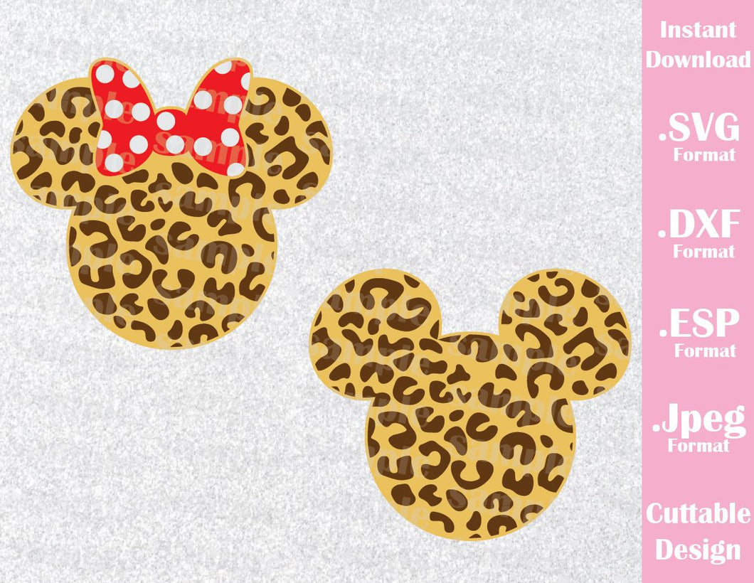 Animal Kingdom Mickey and Minnie Mouse Ears Animal Print Disney Inspired Family Vacation Cutting File in SVG, ESP, DXF and JPEG Format