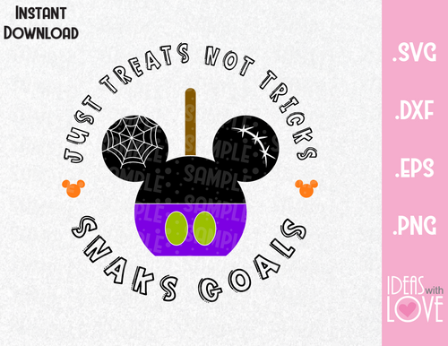 Mickey Ears Just Treats No Tricks, Halloween Inspired  SVG, EPS, DXF, PNG Format