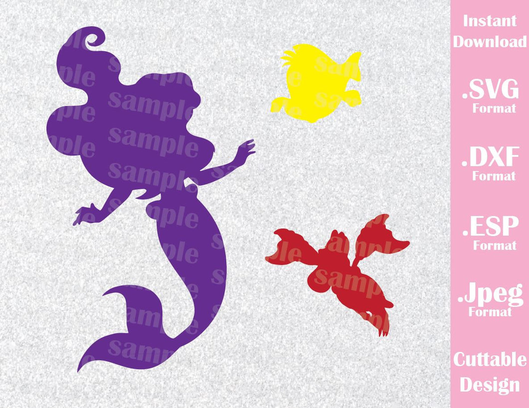 Little Mermaid Princess Ariel, Flounder and Sebastian Disney Inspired Cutting File in SVG, ESP, DXF and JPEG Format