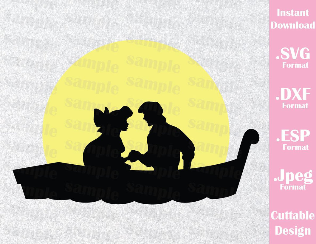 Mermaid Princess Ariel and Prince Eric Disney Inspired Cutting File in SVG, ESP, DXF and JPEG Format