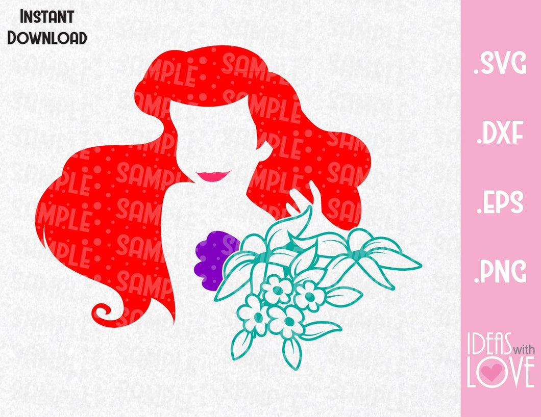 Little Mermaid Princess Ariel Inspired SVG, EPS, DXF, PNG Format