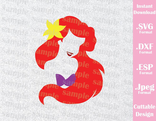 Little Mermaid Princess Ariel Disney Inspired Cutting File in SVG, ESP, DXF and JPEG Format