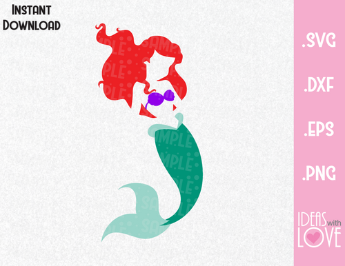 Mermaid Princess Ariel Inspired SVG, EPS, DXF, PNG Format