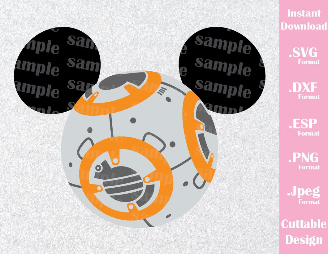 BB8 Mickey Ears Star Wars Inspired Cutting File in SVG, ESP, DXF, PNG and JPEG Format