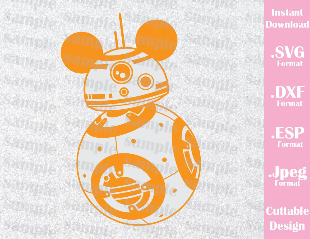 BB8 Mickey Ears Star Wars Inspired Cutting File in SVG, ESP, DXF and JPEG Format