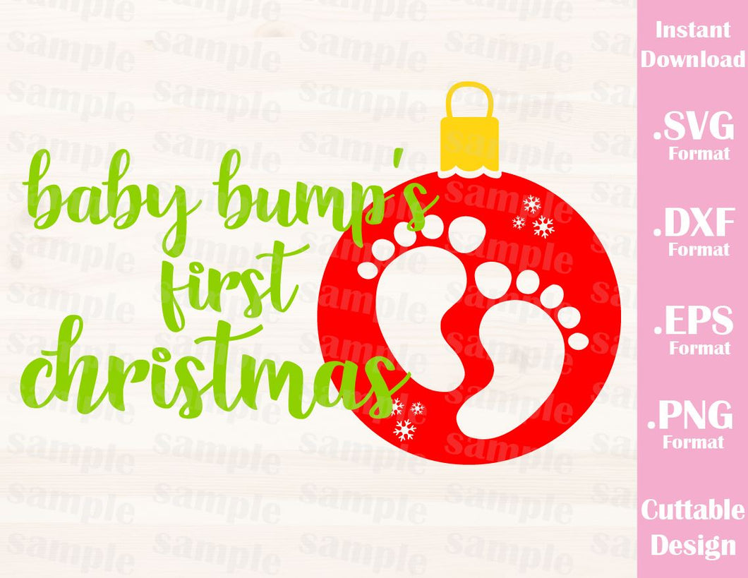 Baby Bump´s First Christmas Pregnant Quote  Family Vacation Cutting File in SVG, ESP, DXF and PNG Format for Cricut and Silhouette