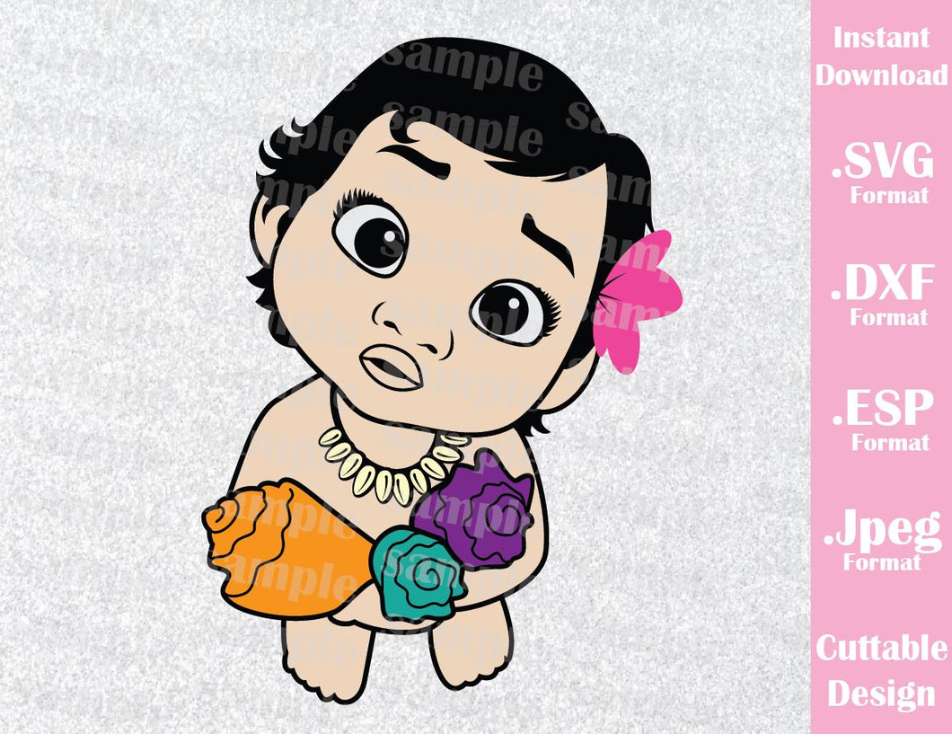 Princess Moana Baby Birthday Girl Inspired Family Vacation Cutting File in SVG, ESP, DXF and JPEG Format
