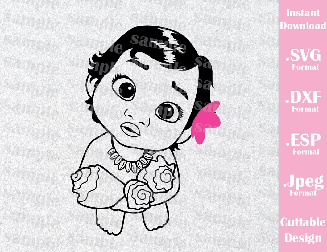 Princess Moana Baby Birthday Girl Inspired Cutting File in SVG, ESP, DXF and JPEG Format