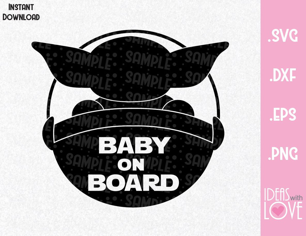 Yoda Baby on Board Inspired SVG, EPS, DXF, PNG Format