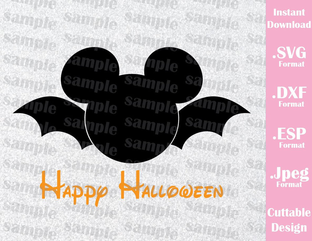 Bat Mickey Ears Happy Halloween Inspired Cutting File in SVG, EPS, DXF and JPEG Format
