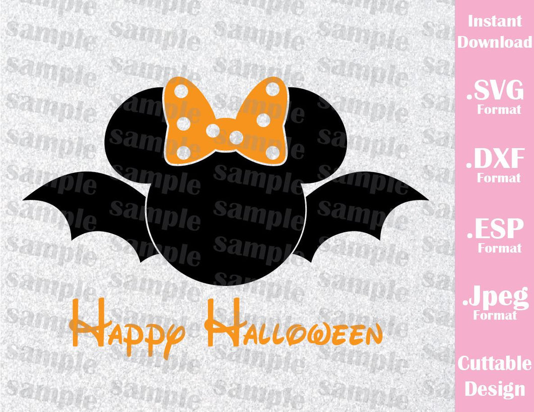 Bat Minnie Mouse Ears Happy Halloween Disney Inspired Cutting File in SVG, ESP, DXF and JPEG Format