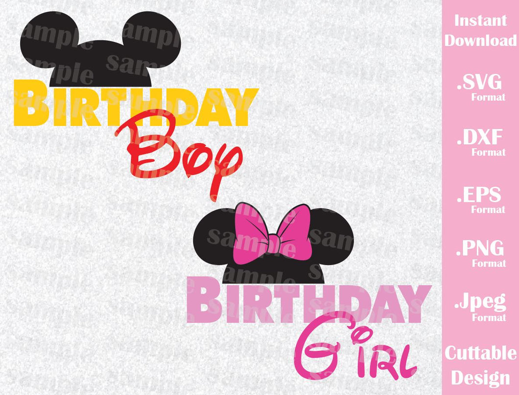 Mickey and Minnie Ears, Birthday Inspired Cutting File in SVG, EPS, DXF, PNG and JPEG Format