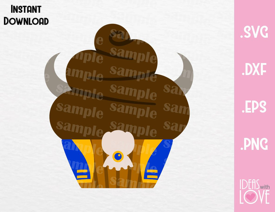 Beauty and the Beast Cupcake Cutting File in SVG, EPS, DXF and PNG Format