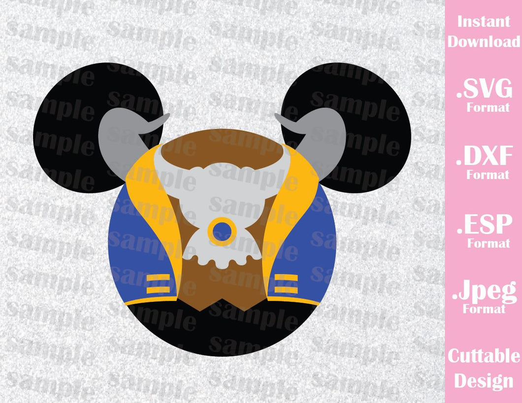 Beast Mickey Ears Inspired Cutting File in SVG, ESP, DXF and JPEG Format