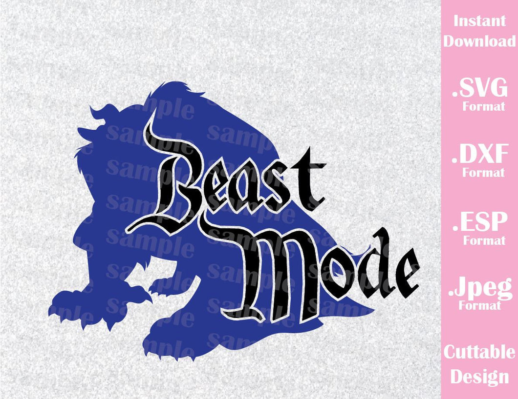 Beast Mode Quote from Beauty and the Beast Cutting File in SVG, ESP, DXF and JPEG Format