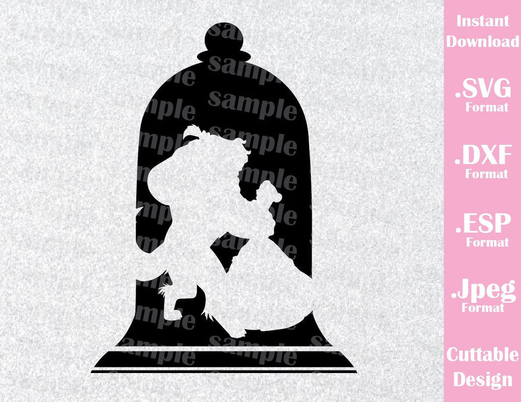 Beauty and the Beast Inspired Silhouette Cutting File in SVG, ESP, DXF and JPEG Format