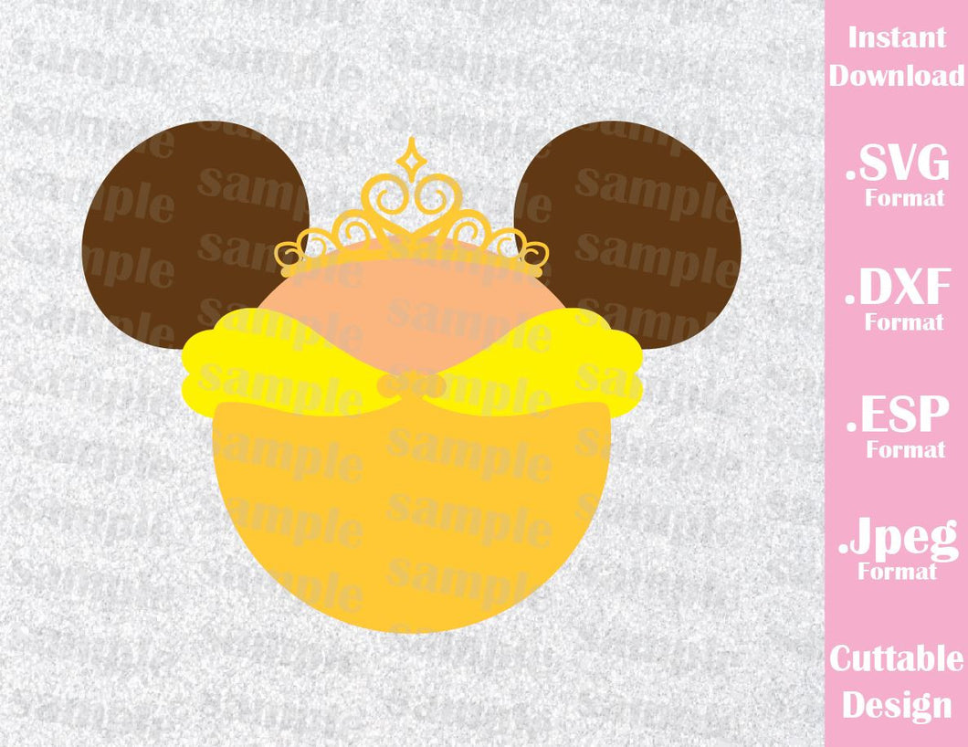 Princess Belle Mickey Ears Inspired Cutting File in SVG, ESP, DXF and JPEG Format