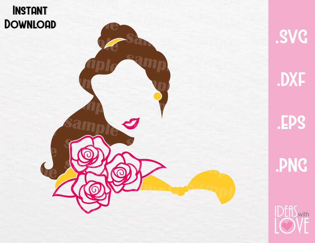 Princess Belle, Beauty and the Beast Inspired SVG, EPS, DXF, PNG Format