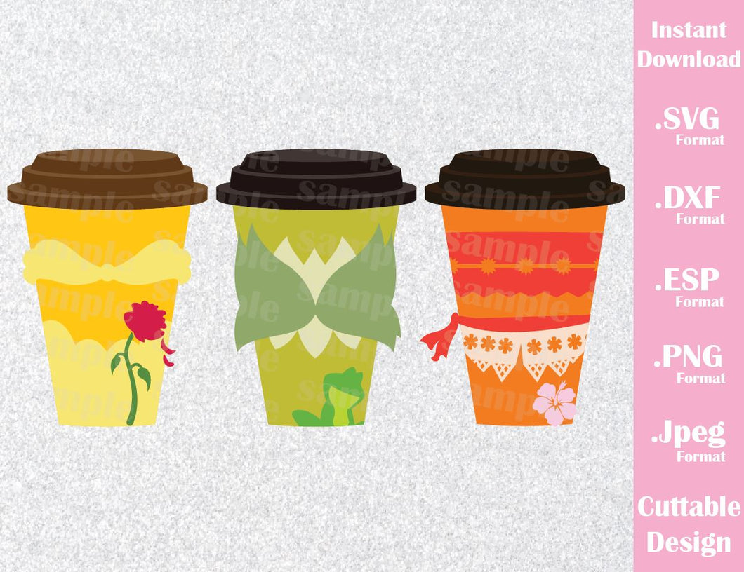 Princesses Belle, Tiana and Moana Coffee Cups, Inspired Cutting File in SVG, ESP, DXF, PNG and JPEG Format