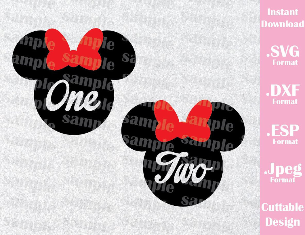 Minnie One Two Birthday Girl Inspired Cutting File in SVG, ESP, DXF and JPEG Format