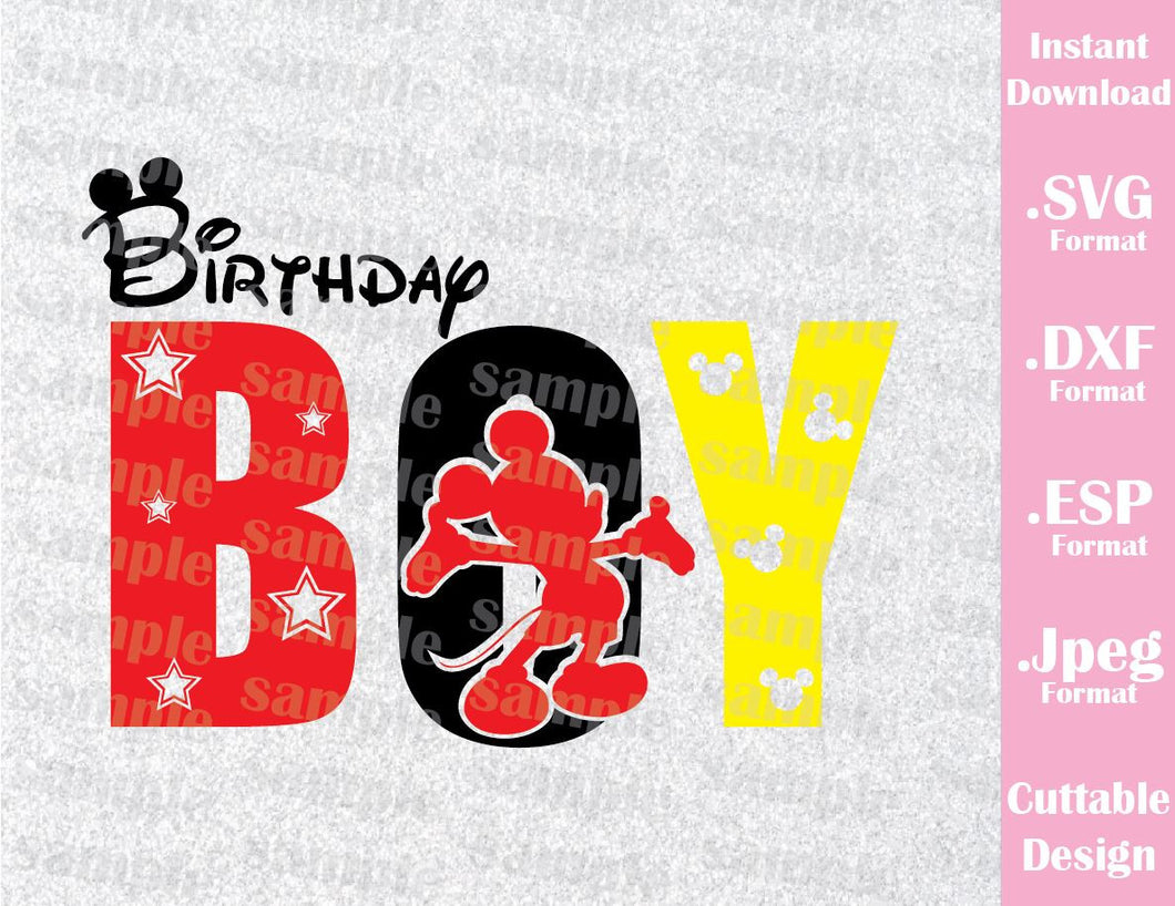 Mickey Mouse Birthday Boy Disney Inspired Family Vacation Cutting File in SVG, ESP, DXF and JPEG Format