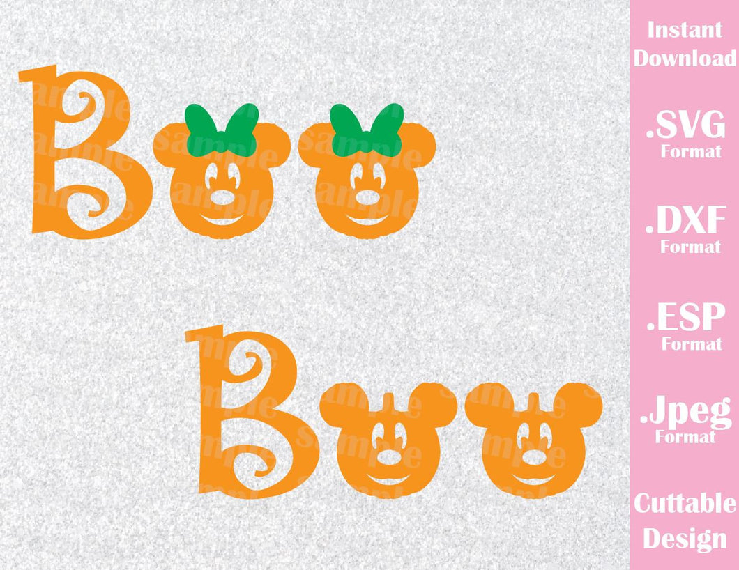 Boo Mickey and Minnie Mouse Ears Disney Halloween Inspired Cutting File in SVG, ESP, DXF and JPEG Format