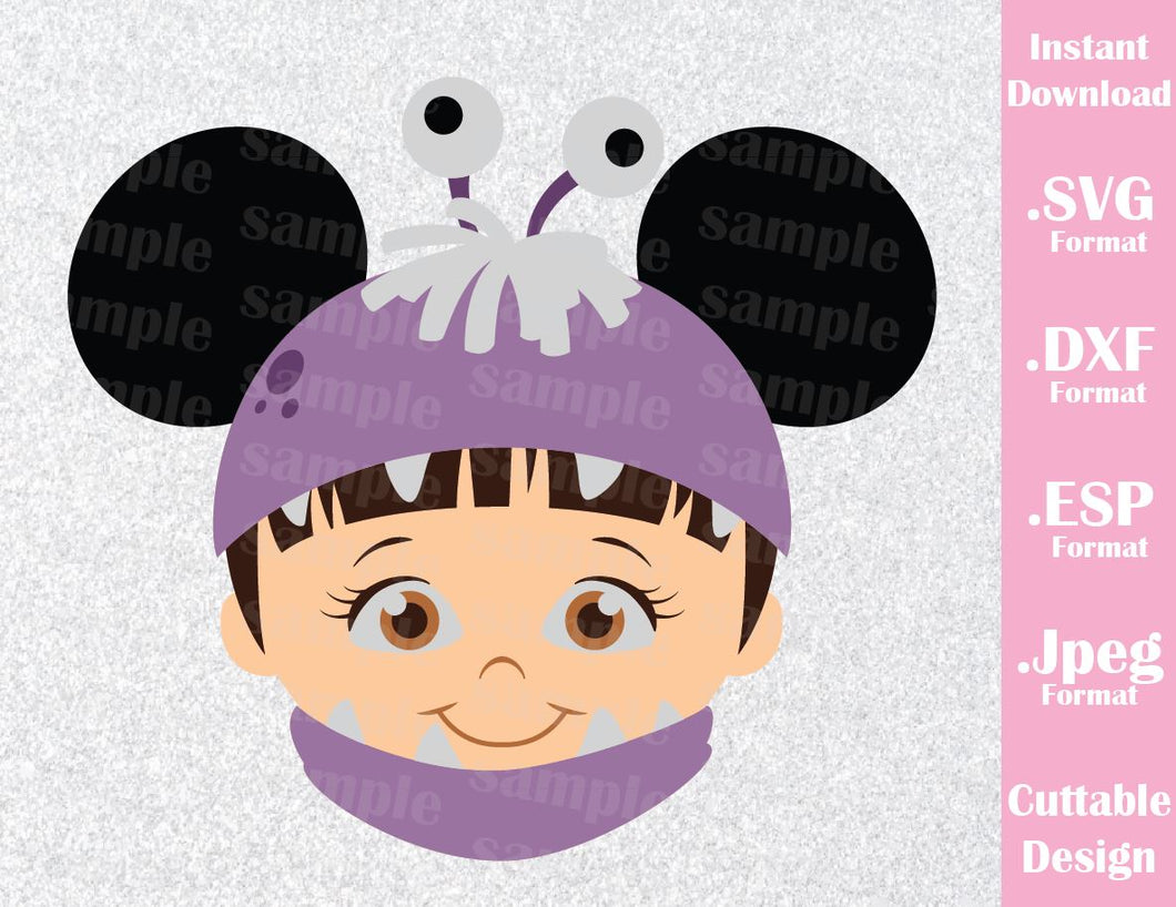 Boo Mickey Ears Monster Inc Inspired Cutting File in SVG, ESP, DXF, PNG and JPEG Format