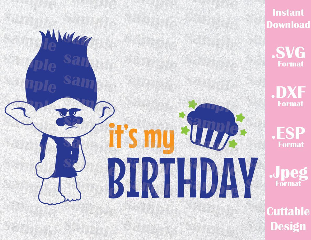 Trolls Branch it's my Birthday Boy Cutting File in SVG, ESP, DXF and JPEG Format