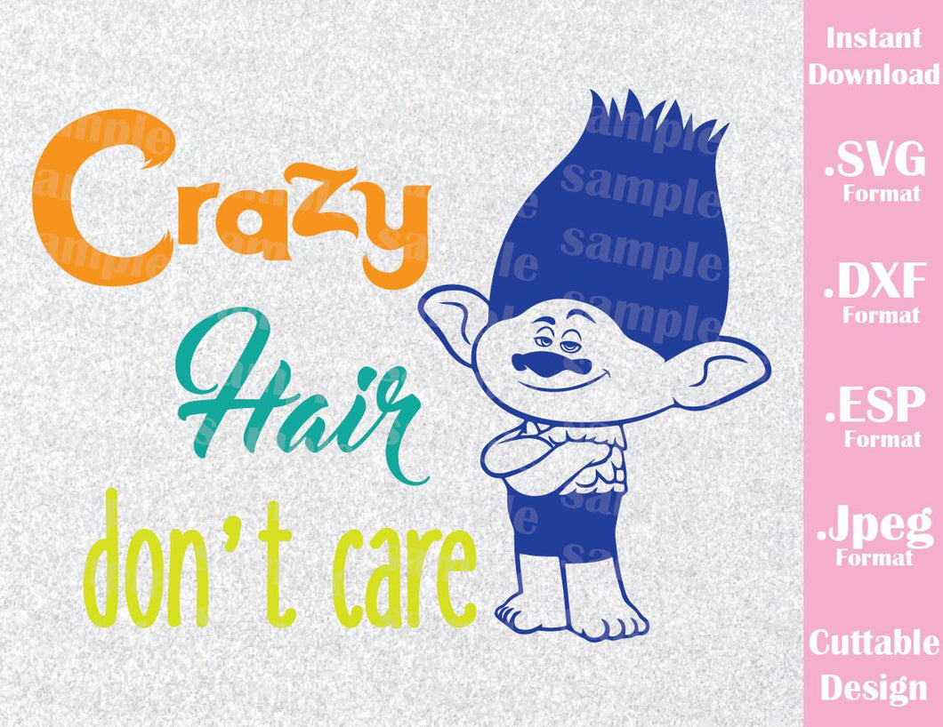 Trolls Crazy Hair Don't Care Kids Characters Branch Cutting File in SVG, ESP, DXF and JPEG Format