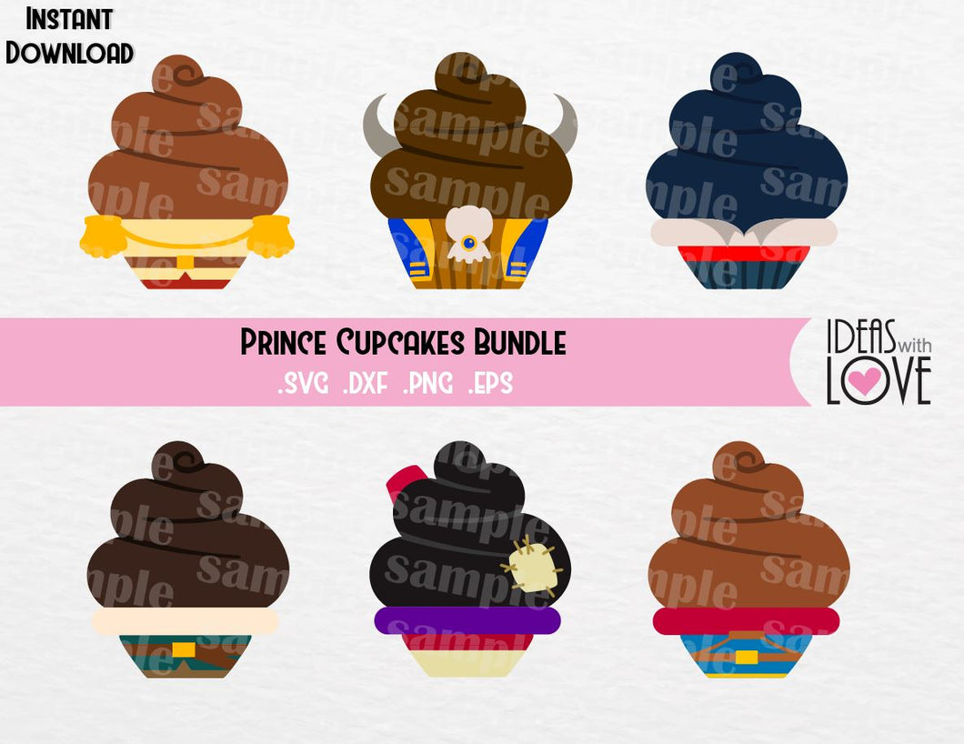 Princes Cupcake Bundle, Prince Charming, Beast, Prince Eric, Flynn, Aladdin, Prince Ferdinand, Inspired Cutting Files in SVG, EPS, DXF, and PNG Formats