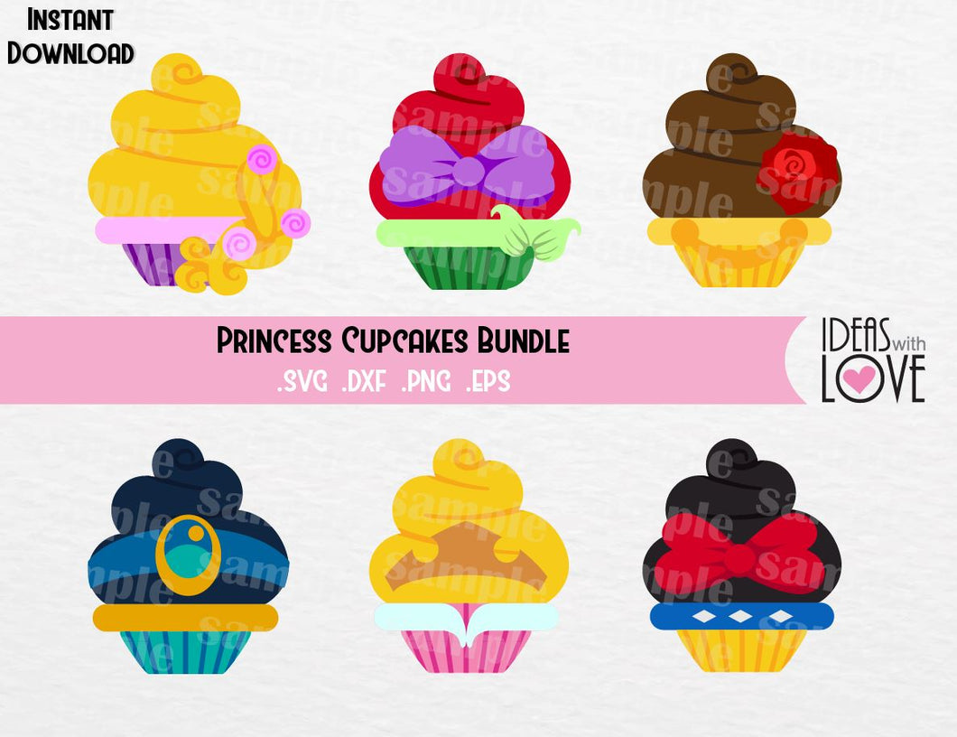Princesses Cupcake Bundle, Ariel, Jasmine, Aurora, Belle, Rapunzel, Snow White, Inspired Cutting Files in SVG, EPS, DXF, and PNG Formats
