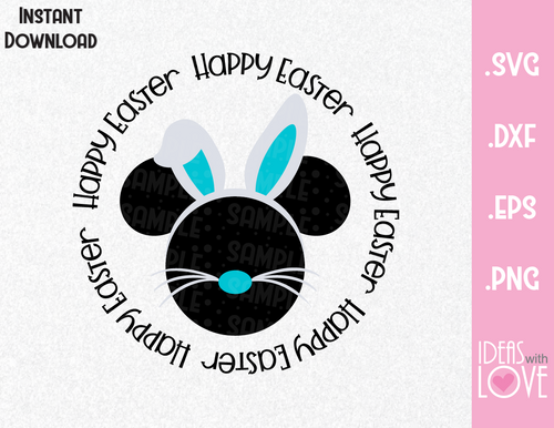 Happy Easter Mickey Ears Bunny Inspired SVG, EPS, DXF, PNG